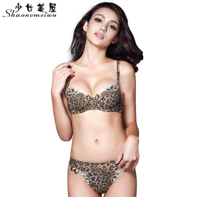 Ms sexy transparent thin lace bra set White gauze temptation leopard thong underwear suits