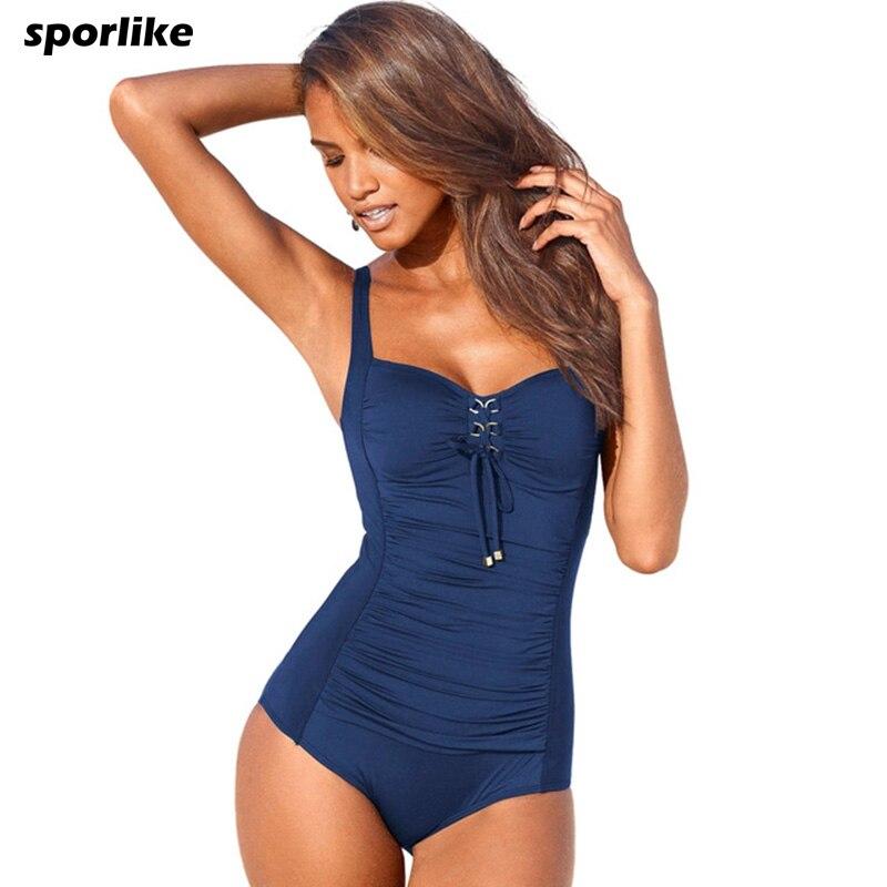 Sporlike One Piece Swimsuit 2017 New Plus Size Swimwear Women Black Solid Swimwear Vintage Retro Bathing Suits Monokini Swimsuit мфк профит 3d cалфетка дружба 44 28 см губка боб