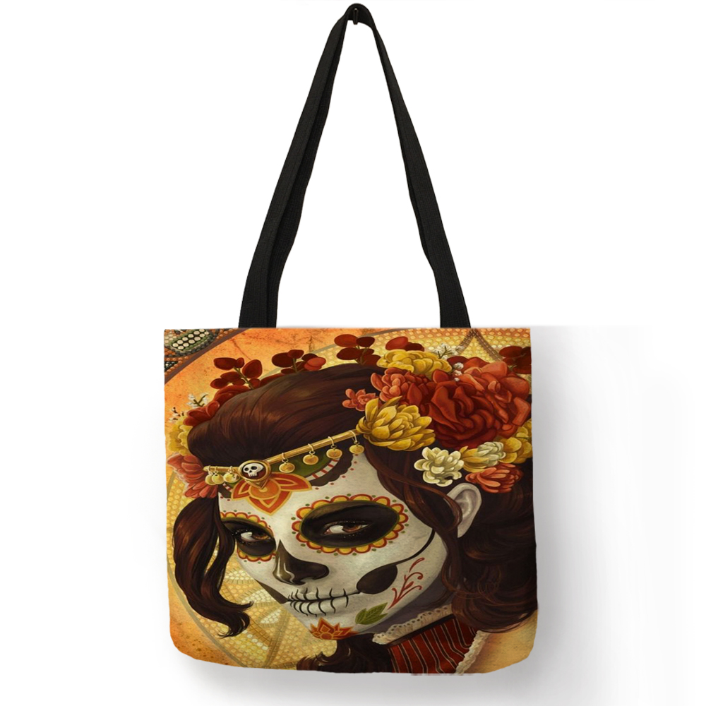 Cool Floral Skull Girl Women Tote Bag Linen Shopping Bags With Customized Double Side Print Halloween Handbags Traveling Totes tote bag