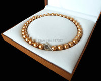 Shining Gold Natural South Sea Shell Pearl Bead Highlight AAA Round Bead 12MM 16mm Necklaces Love