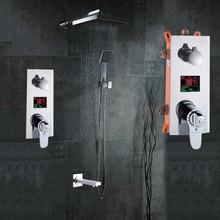 """Badezimmer Dusche Set 3 Funktionen Thermostat Led-digitalanzeige Brausebatterie Brause Wasserhahn 10 """"Regendusche Kopf"""