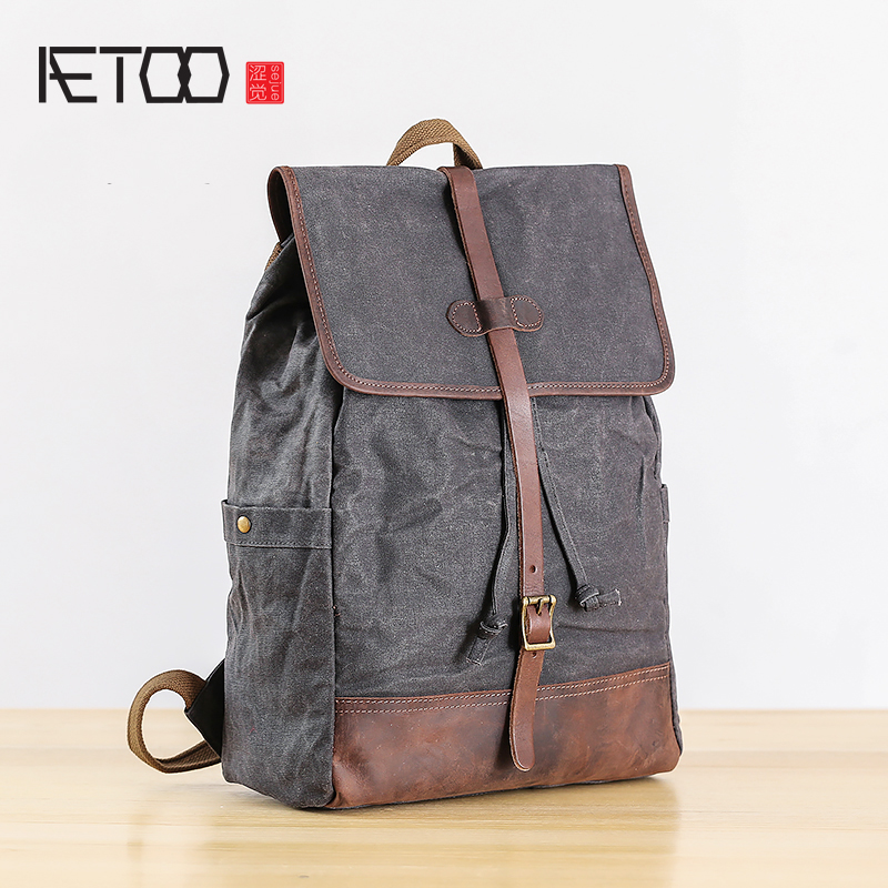 AETOO Double Shoulder Bag mens canvas with cowhide art retro backpack large capacity mens leisure travel bagAETOO Double Shoulder Bag mens canvas with cowhide art retro backpack large capacity mens leisure travel bag