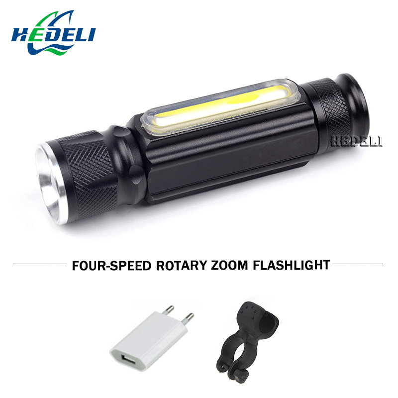 COB Night reading usb flashlight CREE XML T6 led torch flash light waterproof Built-in 18650 battery camping charge hand lamp