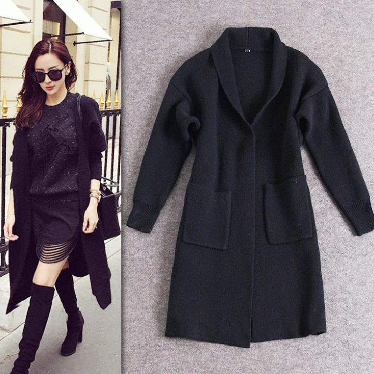 Online Shop Discount women's cardigan qiu dong with thick black ...