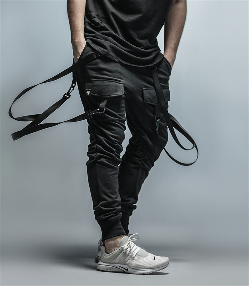 Cargo Pants Men Straps Black Hip Hop Casual Streetwear Sweatpants Ribbon Men's Pencil Pants Black DG101
