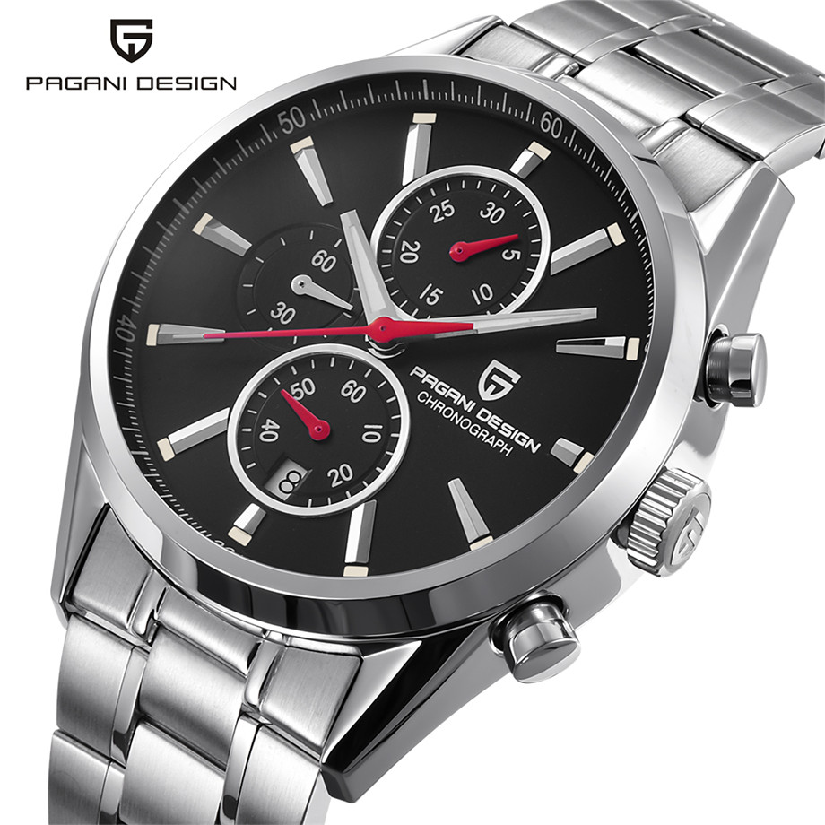 PAGANI DESIGN Chronograph Men Wristwatches Genuine Leather/Stainless Steel Band Waterproof Mens Watch Luxury Business ClockPAGANI DESIGN Chronograph Men Wristwatches Genuine Leather/Stainless Steel Band Waterproof Mens Watch Luxury Business Clock