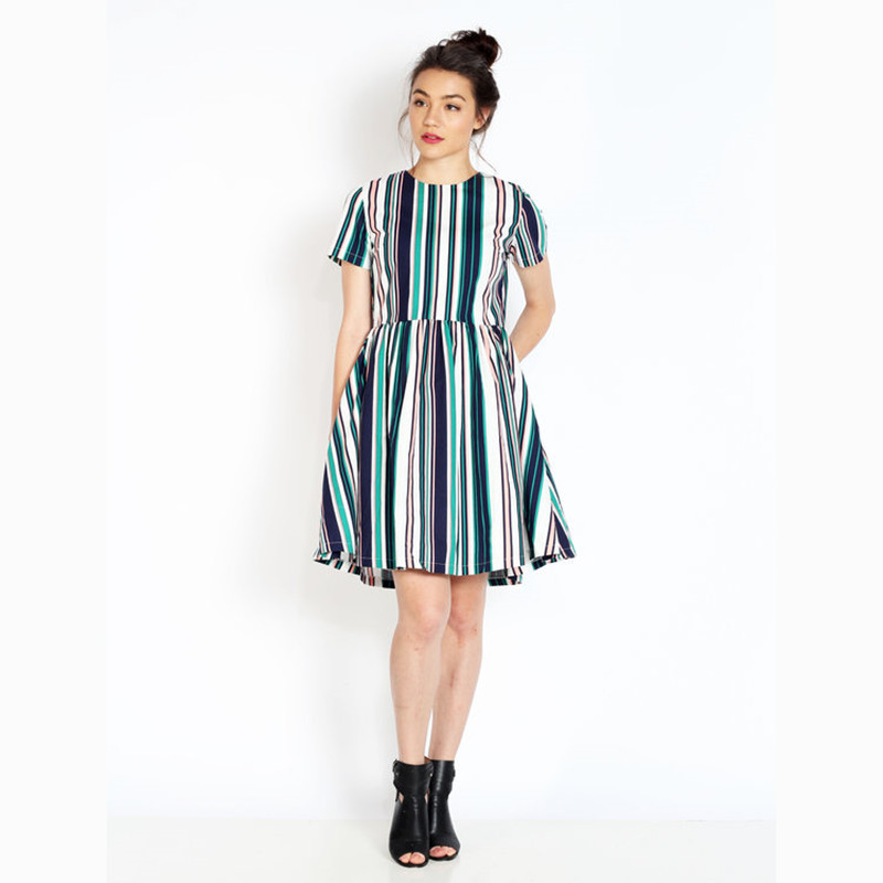 30 summer womemn vintage retro dress in colorful striped pattern ...