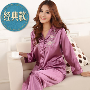 spring autumn cute womens silk satin 3 piece sleep suit 3pcs pajama sets  sleepwear big plus 1201ed838