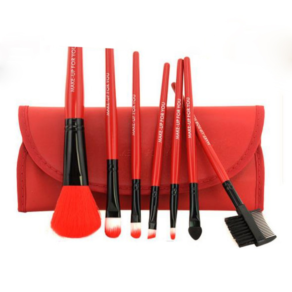 N2017 Womens Makeup Eyeshadow Lip Brush Cosmetic 7pcs/set Brushes Set Kit Bag Case
