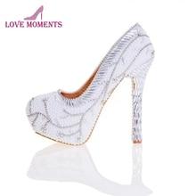 d81f29134 Жемчужно-белые свадебные туфли со стразами высоким каблуком и платформой  Шикарные вечерние туфли для торжеств