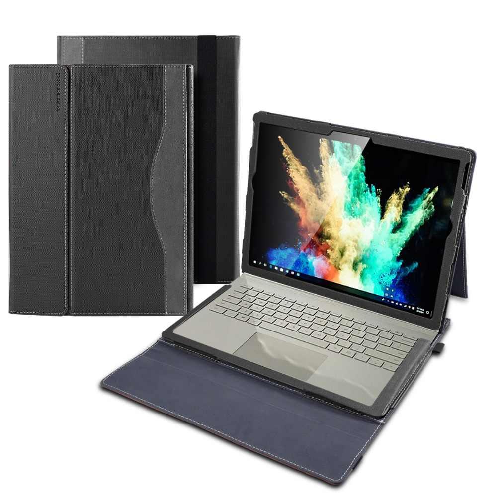 """Étui pour tablette en cuir PU pour Microsoft Surface Book 2 15 pouces étui pour tablette 15 """"avec dragonne et porte-stylo"""