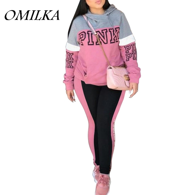 Omilka 2018 Summer Women Long Sleeve Hooded Pink Printed 2 Piece Clothing Set Casual Pink Orange Blue Patchwork Club Tracksuit by Omilka