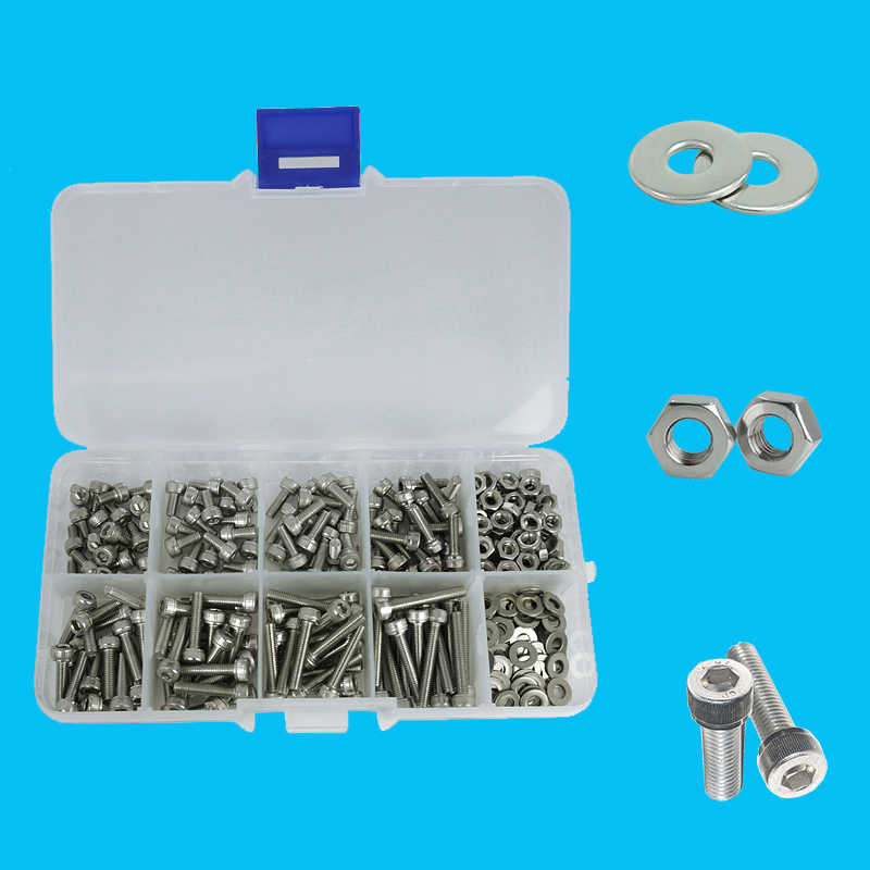 luchang 320pcs/set M2 M2.5 M3 304 Stainless Steel Hexagon Socket Head Cap Screws Bicycle Hex Bolts Nut  Screw Set Assortment Kit