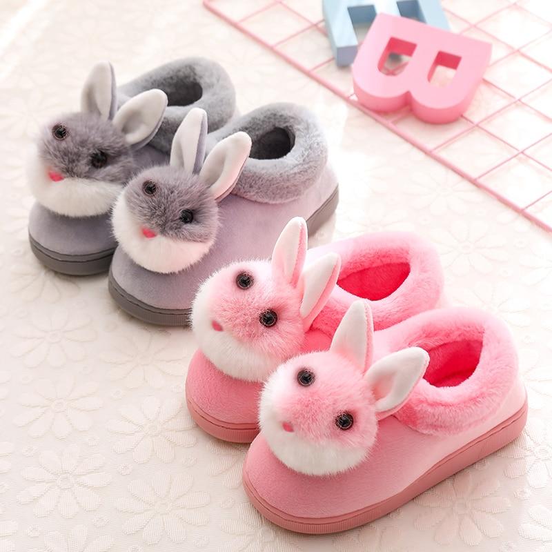 Children Home Slippers Winter/autmn Kids Boys Indoor Shoes Baby Girls Cartoon Cotton Slippers Cute Rabbit Non-slip Wam Slippers