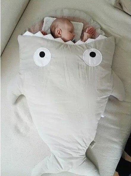 Promoção! tubarão Dos Desenhos Animados saco de dormir de Inverno saco de dormir do bebê Recém-nascidos Carrinhos Cama Swaddle Cobertor Envoltório