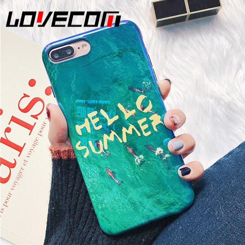 LOVECOM Blu-Ray Глянцевая Dophin море английские слова Hello Summer чехол для телефона iPhone 6 6 S 7 8 Plus X задняя крышка корпуса Coque сумки