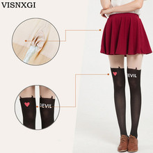 21 Styles New Harajuku Women Pantyhose Stocking Sexy Personality Bow Heart Stitching Knee Boots Nylon Tights Free Shipping