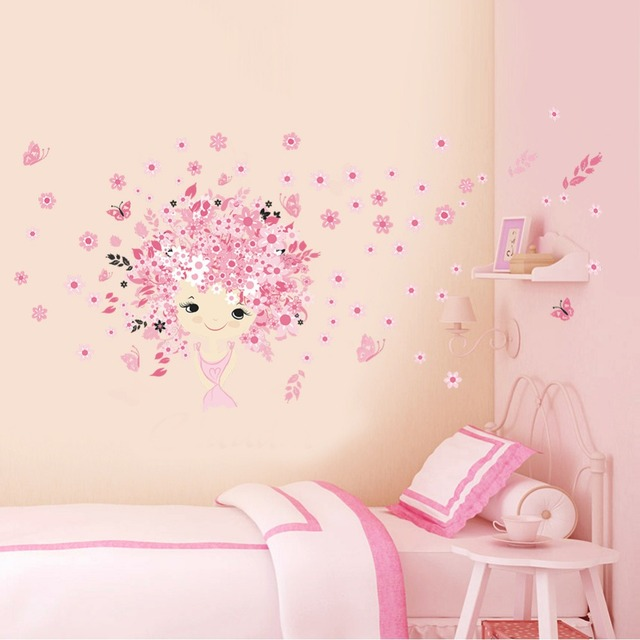 aliexpress : buy flower girl painted baby room wall stickers for