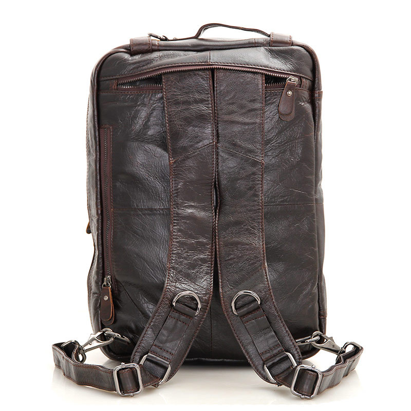 Nesitu High Quality Best Gift Coffee Color Vintage Genuine Leather Men Backpacks Portfolio Men Travel Bags Shoulder Bags M7014