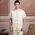 Beige Chinese Men's Satin Kung Fu Shirt Tai Chi Wu Shu Shirt Tops Print Mandarin Collar Clothing S M L XL XXL XXXL 2519-2