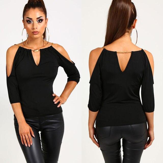 כתף כבויה מקרית אופנה הנשים Loose קיץ חולצה חולצות שחור חצי שרוול חלול מתוך חולצה בגדים בתוספת גודל Sml XL