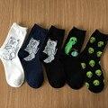 2016 marca elegante creativo hombres mujeres cat calcetines kawaii calcetines calcetines masculinos calcetines de algodón de dibujos animados arte divertido planeta alienígena