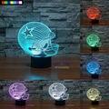 NFL Dallas Cowboys 3D Luz Da Noite 1 Conjunto Frete Grátis 7 Cores Mudança LEVOU Candeeiro de Mesa de Presente de Natal luz da Noite Criativo lâmpada