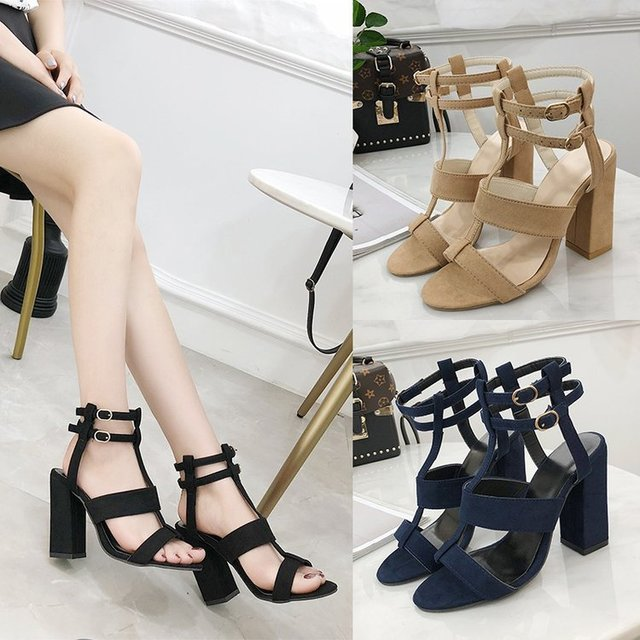 b48d897a6a3 Retro Solid Buckle Strap Summer Square Heels Sandals Women Open Toe  Gladiator Ladies Shoes Super High Sandals