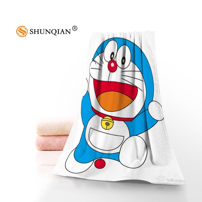 Face Towel/Bath Towel Custom Doraemon Microfiber Hair/Face/Shower Towels Size 35x75cm, 70x140cm