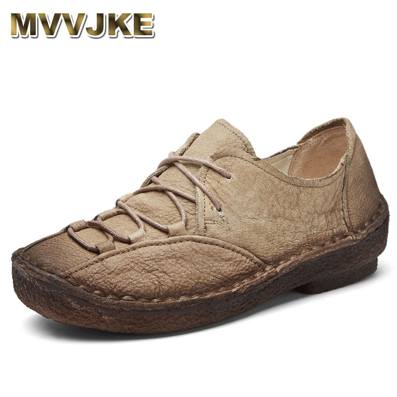 MVVJKE Breathable Flats Casual Women Shoes Soft Genuine Leather Shoes Lace Up Women Flats Soft Hand-sewn Driving Shoes free shipping candy color women garden shoes breathable women beach shoes hsa21