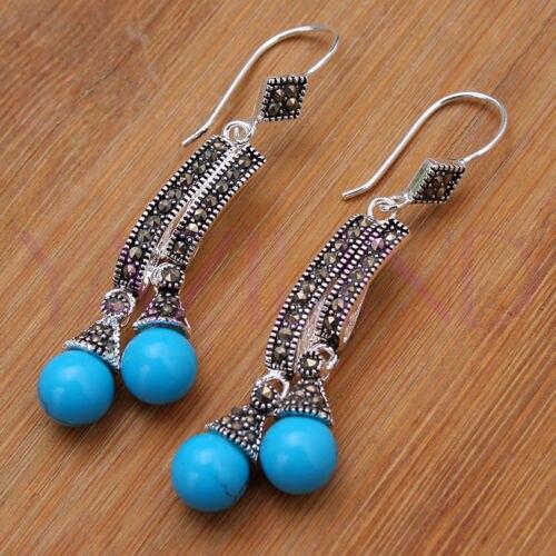 Ladys Noble- - Round Balls Blue natural stone 925 Sterling Silver BLUE Natural Stone bread silver big earrings