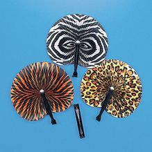 100Pcs Safari Animal Print Folding Fans Party Favor Paper Hand Held Lot Jungle