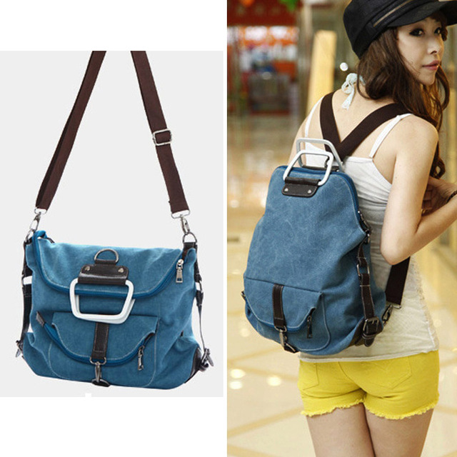 Metal Handle Fashion Dual Usage Women Canvas Convertible Bag Large Ping Candy Travel Shoulder