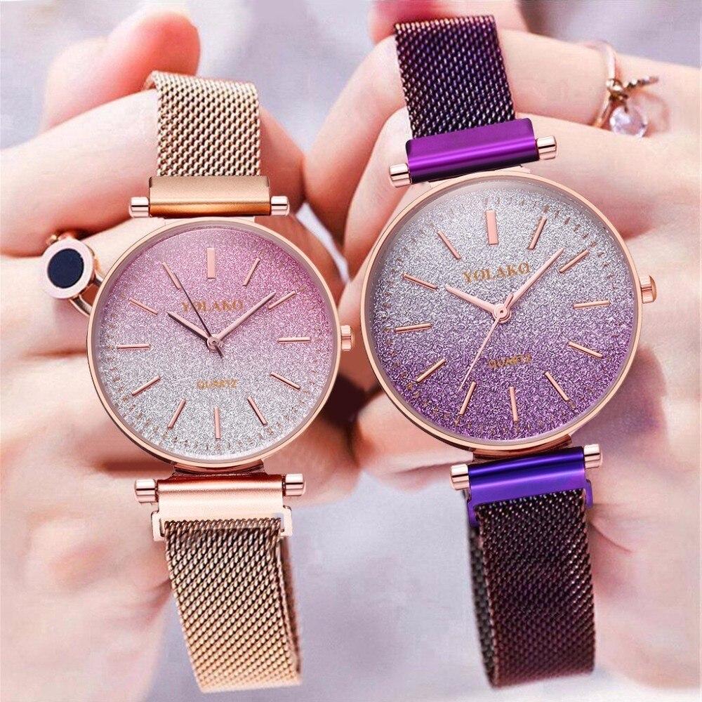 Hot Sale Women Magnet Buckle Starry Sky Gradient Color Watch Luxury Ladies Stainless Steel Quartz Watch YOLAKO Brand Clock