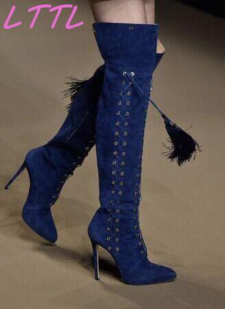 Spring Hot Blue Suede Leather Women Lace Up Over The Knee Boots Sexy Pointy Toe Ladies High Heel Boots Fringe Boots new fashion back lace women over the knee boots black suede leather ladies pointy toe thigh boots stiletto boots