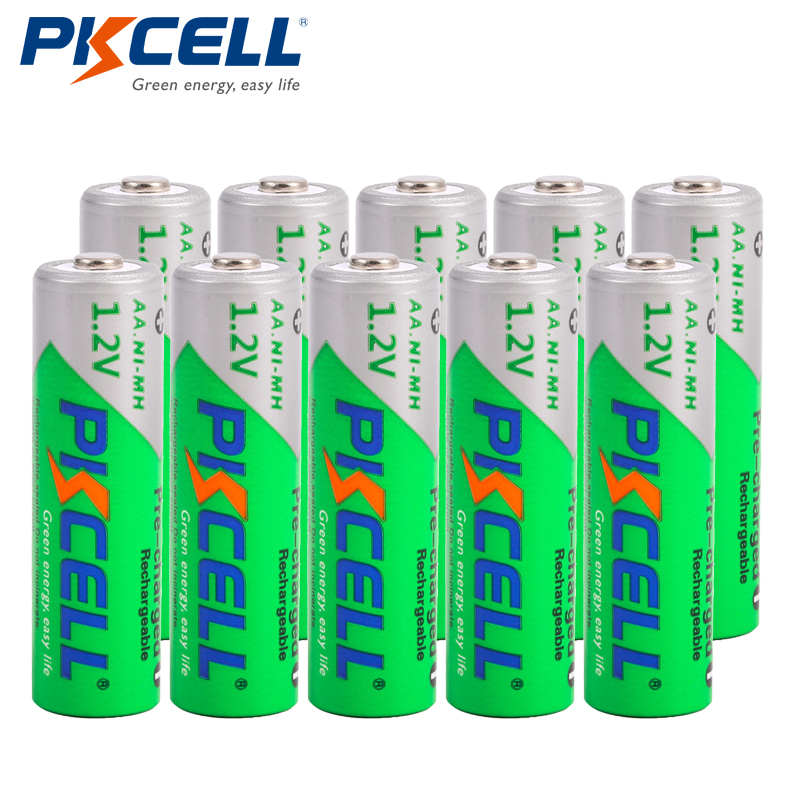 10pcs PKCELL AA Batteries 1.2V NI-MH Pre-charged 2200mAh 2A NIMH Low Self-discharged AA Rechargeable Battery Baterias Bateria