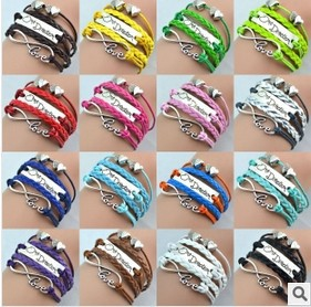 Fashion Lovely Angel Wings Silver Infinity one direction Charm Leather Cuff Bracelets Wrap Bead Bangle Jewelry Women Girl - Mountain_best store