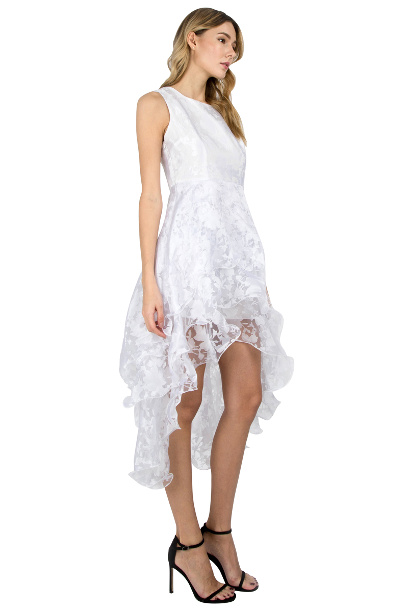 Summer Maxi Dress 2017 New Women O-Neck Sleeveless Sweet Ball Gown White Organza High Low Evening Party Long Dress Plus Size (3)