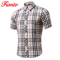 Red And Black Plaid Shirt Men Shirts 2017 New Summer Short Sleeve Cotton Chemise Homme Male
