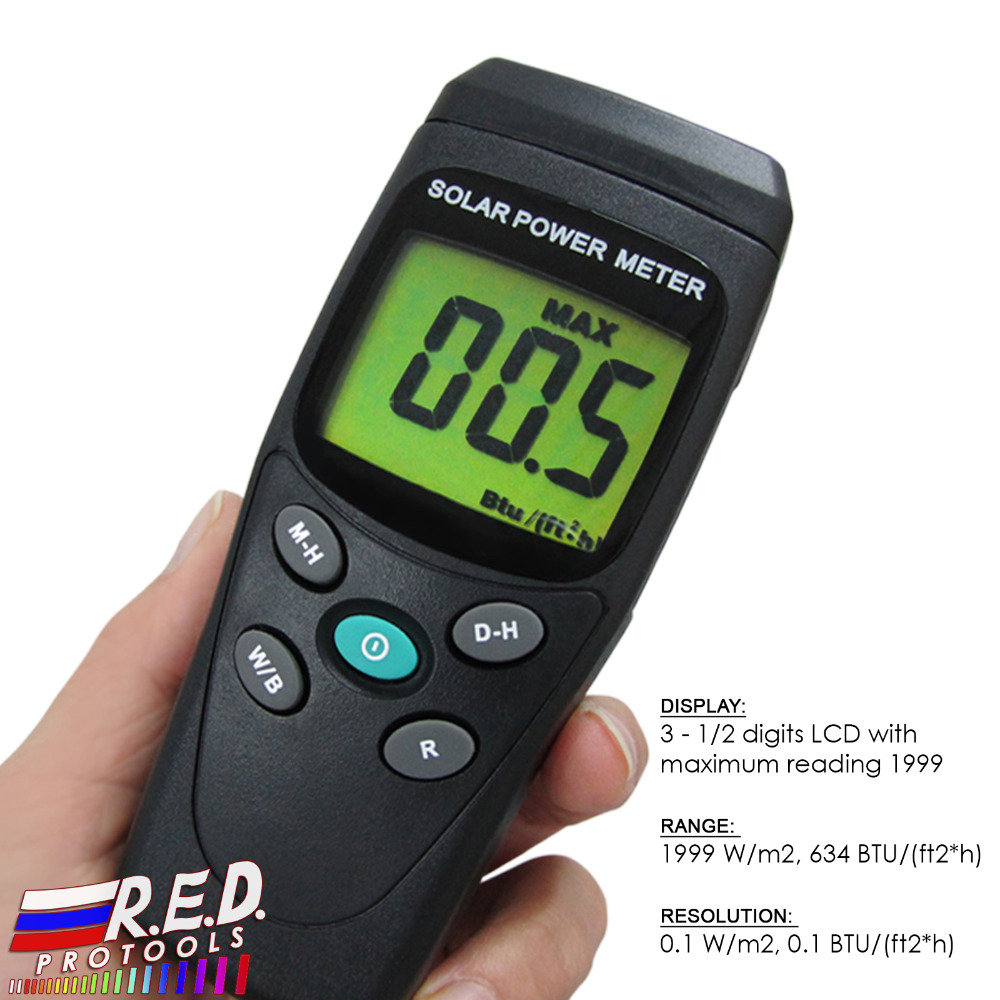Digital Solar Power Meter BTU W/m2 Radiation Energy Cell Tester Auto Range Made in Taiwan цена
