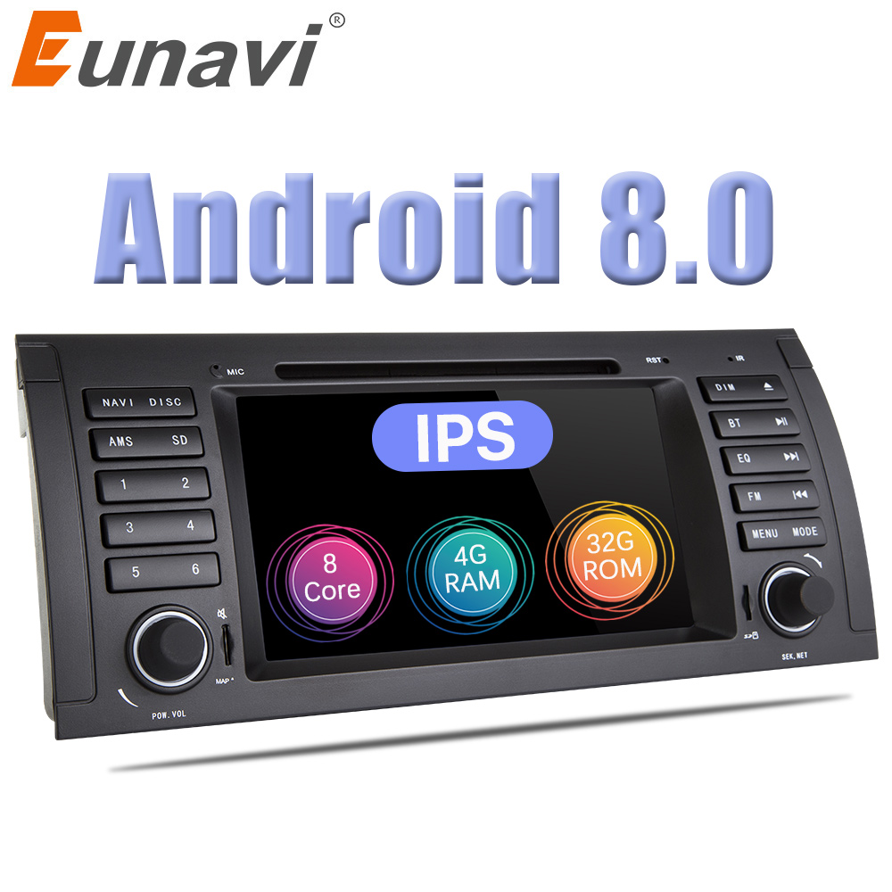 Eunavi Single 1 din 7'' Android 8.0 Car DVD Radio Stereo player For BMW 5 Series E39 X5 E53 GPS Navigation Octa core 1024*600 HD цена 2017