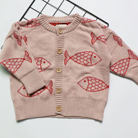 2017 New Autumn Bobo Chosee Pattern Fish Cardigan For Kids Girls Pullover Fille Kid Knitwear Boys