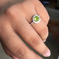Natural Green Round Stone Solid Silver 925 Ring Women 100 Real Sterling Silver 925 Jewelry Female