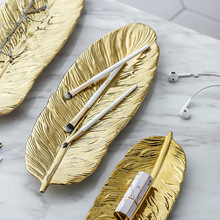 Gold Feather Shape Ceramic Jewelry Plate Dish Porcelain Candy Trinket Food Fruit Serving Tray Ring Storage Plate Home Decorative