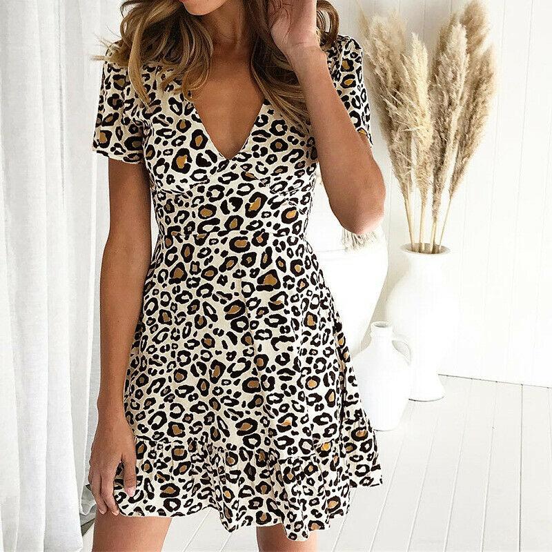 Women Leopard Print Sexy V Neck Dress New Fashion Ladies Summer Beach Short Mini Dress Sundress Casual Short Sleeve Party Dress