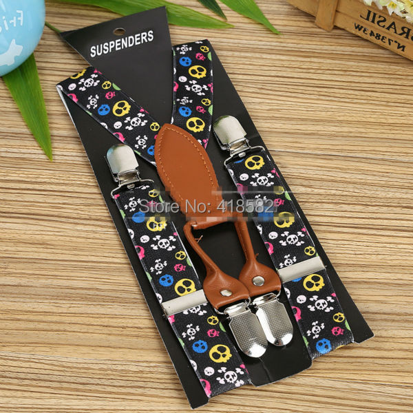 BD064--New Fashion Kids Colored Skulls Printed Suspenders High Quality Leather 4 Clips-on Braces For 2-8 Years Children