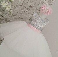 2017 Summer Sleeveless Keyhole Back Ivory Flower Girl Tutu Dress Silver Sequin Top Tea Length Gown