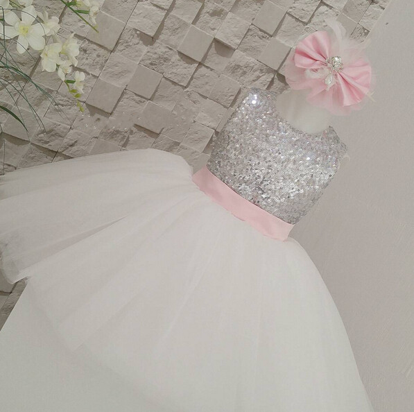 Cute summer sleeveless keyhole back ivory flower girl tutu dress silver sequin top tea-length gown for wedding birthday pleated panel keyhole back dress