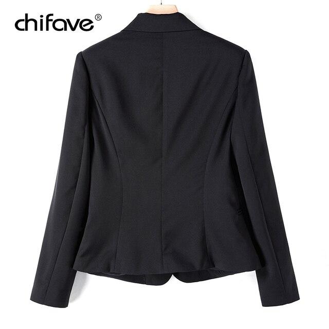 chifave Blazer feminino 2018 Autumn Winter Elegant Women's Short Jacket Plus Sizes Office Style Slim Wine&Black Blazer Jackets 4