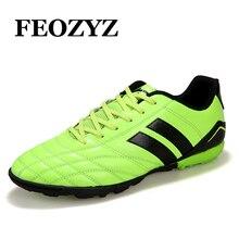Leoci rígido contagem do menino crianças botas de futebol homens turf soccer shoes formadores tênis esportivos sapatos chuteiras de futebol sapatos tamanho 33-44